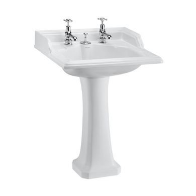Burlington Classic 650mm Invisible Overflow Basin With Classic Pedestal