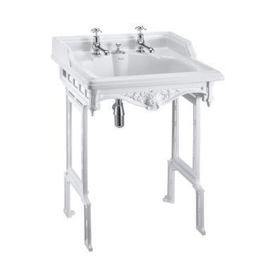 Burlington Classic 650mm Invisible Overflow Basin With White Aluminium Washstand