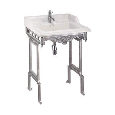 Burlington Classic 650mm Rectangular Basin With Brushed Aluminium Washstand
