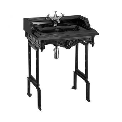Burlington Classic 650mm Rectangular Jet Black Basin and Black Aluminium Washstand