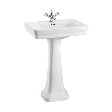 Burlington Contemporary 580mm Basin With Regal White Pedestal