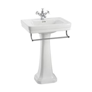 Burlington Contemporary 580mm Basin With Standard White Pedestal