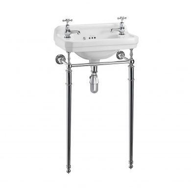 Burlington Edwardian 510mm Cloakroom Basin With Regal Chrome Washstand