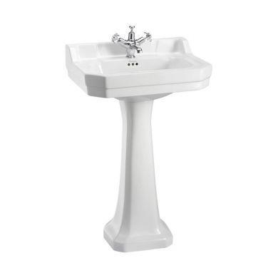 Burlington Edwardian 560mm White Basin With Standard White Pedestal
