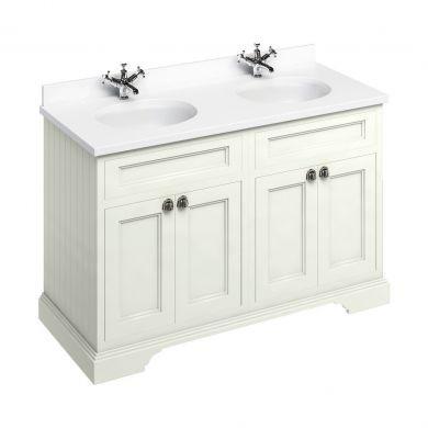 Burlington Freestanding 1300 Four Door Vanity Unit and Minerva Double Integrated Basin Worktop - Sand - White Minerva