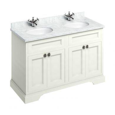 Burlington Freestanding 1300 Four Door Vanity Unit and Minerva Double Integrated Basin Worktop - Sand - Carrara White Minerva