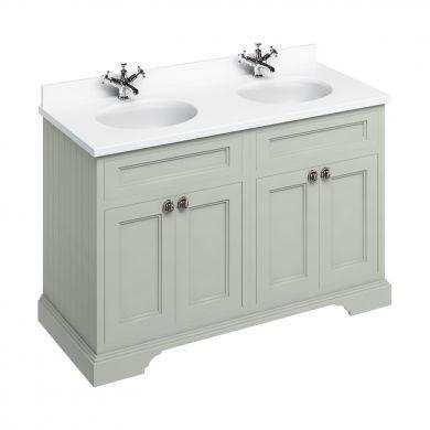 Burlington Freestanding 1300 Four Door Vanity Unit and Minerva Double Integrated Basin Worktop - Dark Olive - White Minerva