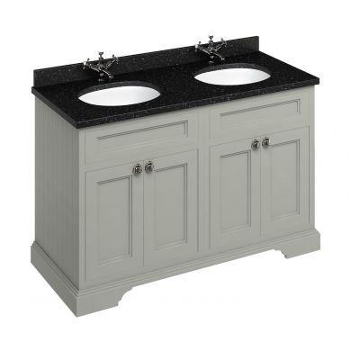 Burlington Freestanding 1300 Four Door Vanity Unit and Minerva Double Integrated Basin Worktop - Dark Olive - Black Granite Minerva