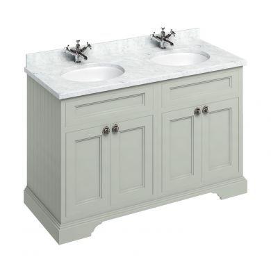 Burlington Freestanding 1300 Four Door Vanity Unit and Minerva Double Integrated Basin Worktop - Dark Olive - Carrara White Minerva