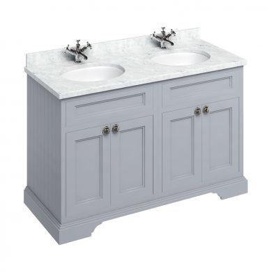 Burlington Freestanding 1300 Four Door Vanity Unit and Minerva Double Integrated Basin Worktop - Classic Grey - Carrara White Minerva