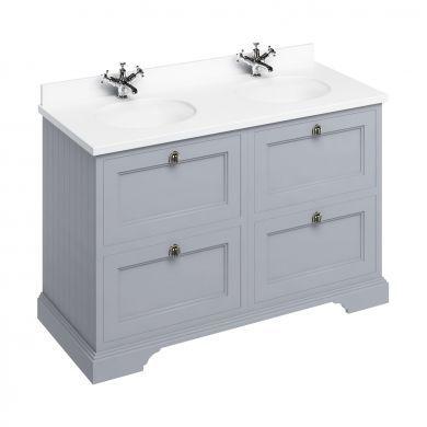 Burlington Freestanding 1300 Four Drawer Vanity Unit and Minerva Double Integrated Basin Worktop - Classic Grey - White Minerva