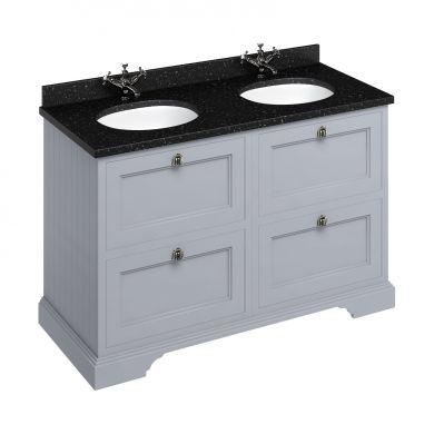 Burlington Freestanding 1300 Four Drawer Vanity Unit and Minerva Double Integrated Basin Worktop - Classic Grey - Black Granite Minerva