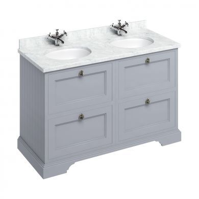 Burlington Freestanding 1300 Four Drawer Vanity Unit and Minerva Double Integrated Basin Worktop - Classic Grey - Carrara White Minerva