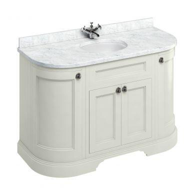 Burlington Freestanding 1340 Curved Two Door Vanity Unit and Minerva Integrated Basin Worktop - Sand - Carrara White Minerva