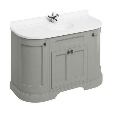 Burlington Freestanding 1340 Curved Two Door Vanity Unit and Minerva Integrated Basin Worktop - Dark Olive - White Minerva