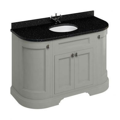 Burlington Freestanding 1340 Curved Two Door Vanity Unit and Minerva Integrated Basin Worktop - Dark Olive - Black Granite Minerva