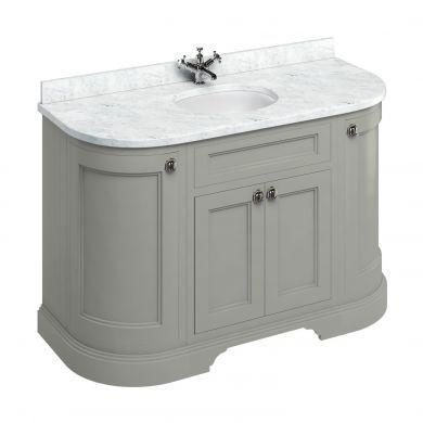 Burlington Freestanding 1340 Curved Two Door Vanity Unit and Minerva Integrated Basin Worktop - Dark Olive - Carrara White Minerva