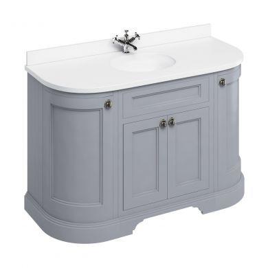 Burlington Freestanding 1340 Curved Two Door Vanity Unit and Minerva Integrated Basin Worktop - Classic Grey - White Minerva