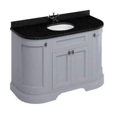 Burlington Freestanding 1340 Curved Two Door Vanity Unit and Minerva Integrated Basin Worktop - Classic Grey - Black Granite Minerva