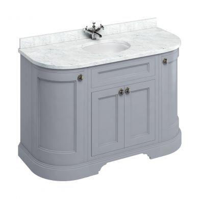 Burlington Freestanding 1340 Curved Two Door Vanity Unit and Minerva Integrated Basin Worktop - Classic Grey - Carrara White Minerva