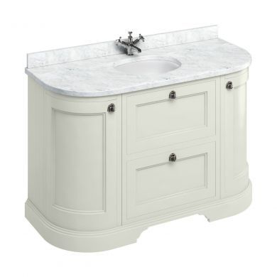Burlington Freestanding 1340 Curved Two Drawer Vanity Unit and Minerva Integrated Basin Worktop - Sand - Carrara White Minerva