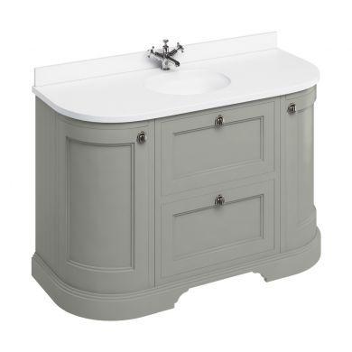 Burlington Freestanding 1340 Curved Two Drawer Vanity Unit and Minerva Integrated Basin Worktop - Dark Olive - White Minerva