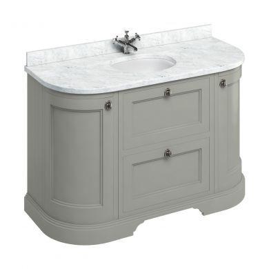Burlington Freestanding 1340 Curved Two Drawer Vanity Unit and Minerva Integrated Basin Worktop - Dark Olive - Carrara White Minerva