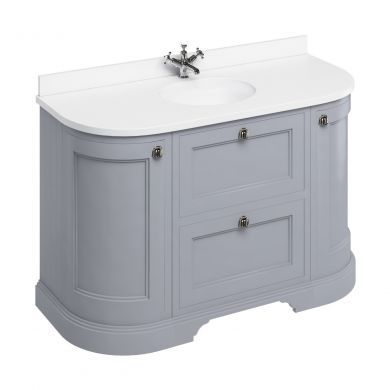 Burlington Freestanding 1340 Curved Two Drawer Vanity Unit and Minerva Integrated Basin Worktop - Classic Grey - White Minerva