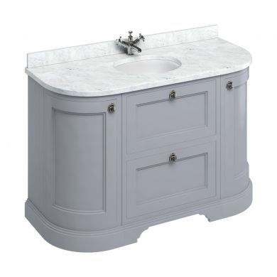 Burlington Freestanding 1340 Curved Two Drawer Vanity Unit and Minerva Integrated Basin Worktop - Classic Grey - Carrara White Minerva