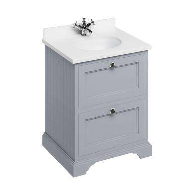 Burlington Freestanding 650 Two Drawer Vanity Unit and Minerva Integrated Basin Worktop - Classic Grey - White Minerva