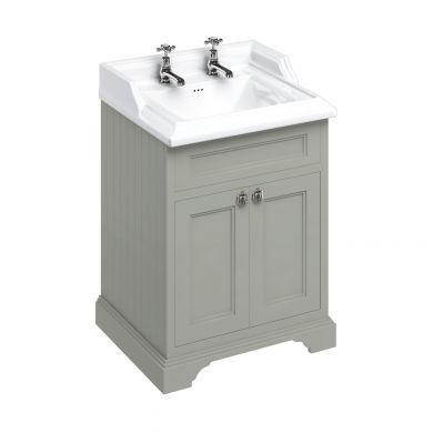 Burlington Freestanding 650 Two Door Vanity Unit and Classic Basin With Overflow - Dark Olive