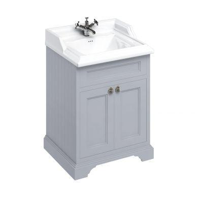 Burlington Freestanding 650 Two Door Vanity Unit and Classic Basin With Overflow - Classic Grey