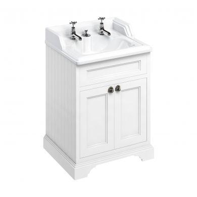 Burlington Freestanding 650 Two Door Vanity Unit and Classic Basin With Integrated Overflow