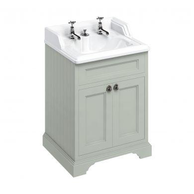 Burlington Freestanding 650 Two Door Vanity Unit and Classic Basin With Integrated Overflow - Dark Olive