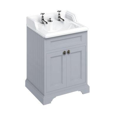 Burlington Freestanding 650 Two Door Vanity Unit and Classic Basin With Integrated Overflow - Classic Grey