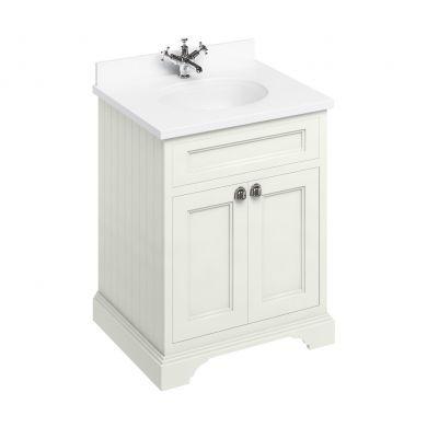 Burlington Freestanding 650 Two Door Vanity Unit and Minerva Integrated Basin Worktop - Sand - White