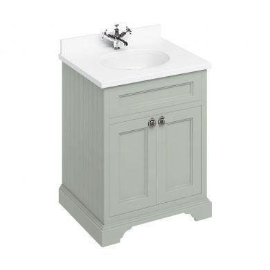 Burlington Freestanding 650 Two Door Vanity Unit and Minerva Integrated Basin Worktop - Dark Olive - White