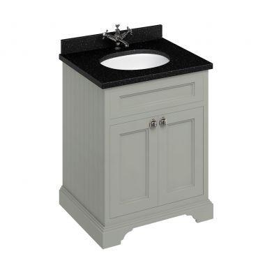 Burlington Freestanding 650 Two Door Vanity Unit and Minerva Integrated Basin Worktop - Dark Olive - Black Granite