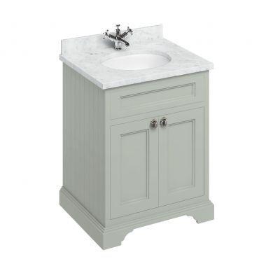 Burlington Freestanding 650 Two Door Vanity Unit and Minerva Integrated Basin Worktop - Dark Olive - Carrara White