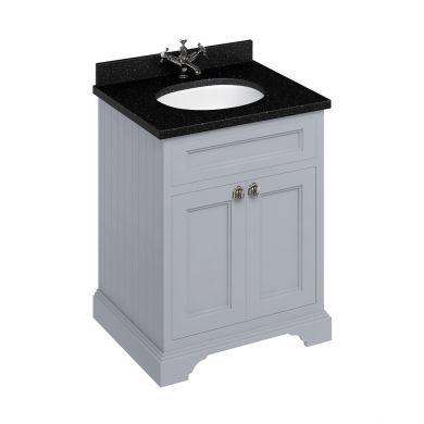 Burlington Freestanding 650 Two Door Vanity Unit and Minerva Integrated Basin Worktop - Classic Grey - Black Granite