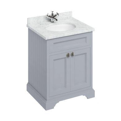 Burlington Freestanding 650 Two Door Vanity Unit and Minerva Integrated Basin Worktop - Classic Grey - Carrara White