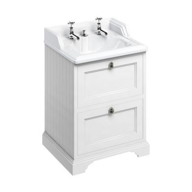Burlington Freestanding 650 Two Drawer Vanity Unit and Classic Basin With Integrated Overflow