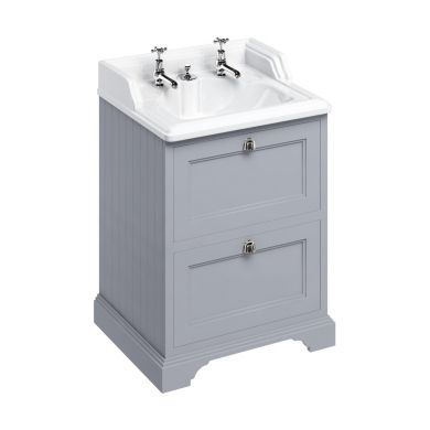 Burlington Freestanding 650 Two Drawer Vanity Unit and Classic Basin With Integrated Overflow - Classic Grey