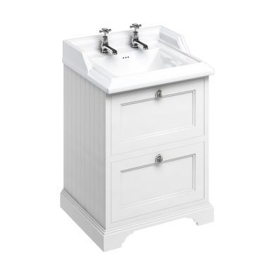 Burlington Freestanding 650 Two Drawer Vanity Unit and Classic Basin With Overflow