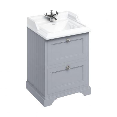 Burlington Freestanding 650 Two Drawer Vanity Unit and Classic Basin With Overflow - Classic Grey