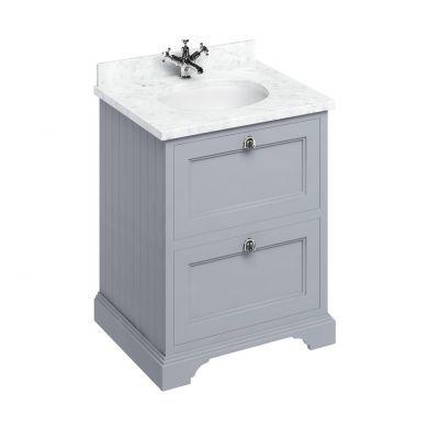 Burlington Freestanding 650 Two Drawer Vanity Unit and Minerva Integrated Basin Worktop - Classic Grey - Carrara White Minerva