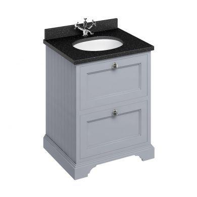Burlington Freestanding 650 Two Drawer Vanity Unit and Minerva Integrated Basin Worktop - Classic Grey - Black Granite Minerva