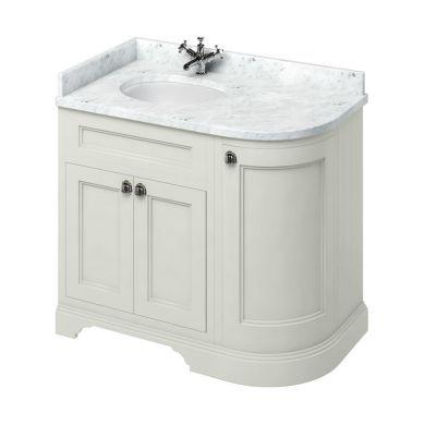Burlington Freestanding 980 Left Curved Vanity Unit and Minerva Integrated Basin Worktop - Sand - Carrara White
