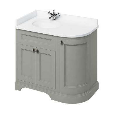 Burlington Freestanding 980 Left Curved Vanity Unit and Minerva Integrated Basin Worktop - Dark Olive - White