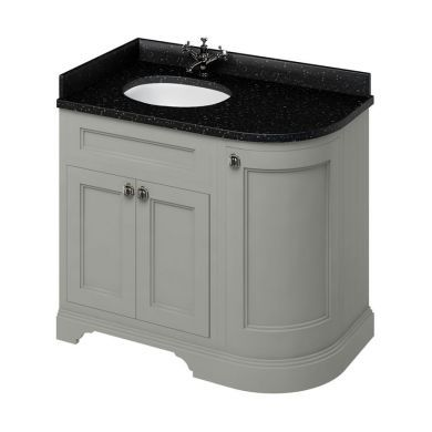 Burlington Freestanding 980 Left Curved Vanity Unit and Minerva Integrated Basin Worktop - Dark Olive - Black Granite
